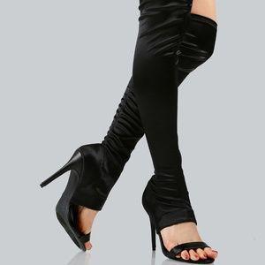 Peep Toe Satin Over the Knee Boots